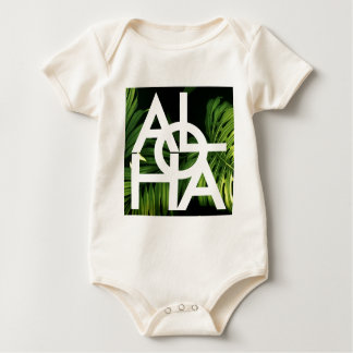 Aloha White Graphic Hawaii Palm Baby Bodysuit