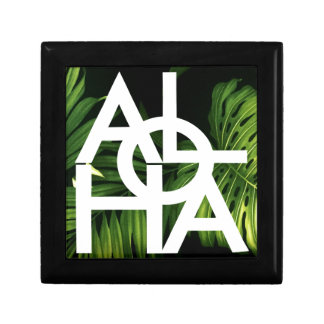 Aloha White Graphic Hawaii Palm Gift Box