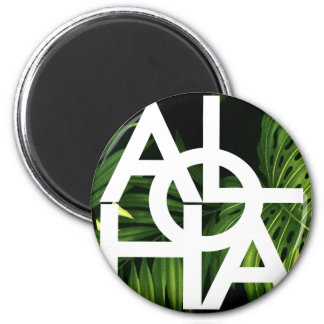 Aloha White Graphic Hawaii Palm Magnet