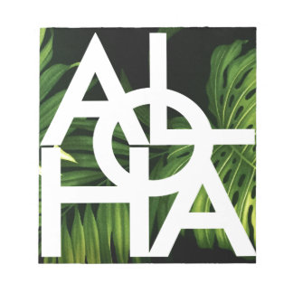 Aloha White Graphic Hawaii Palm Notepad