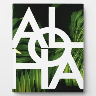 Aloha White Graphic Hawaii Palm Plaque