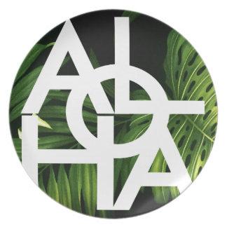 Aloha White Graphic Hawaii Palm Plate