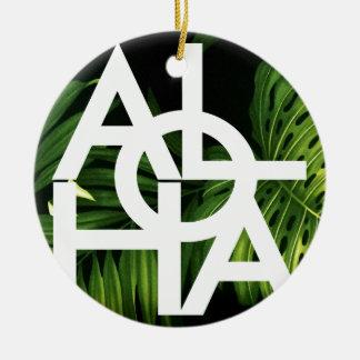 Aloha White Graphic Hawaii Palm Round Ceramic Ornament