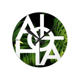 Aloha White Graphic Hawaii Palm Round Clock