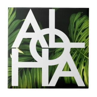 Aloha White Graphic Hawaii Palm Tile