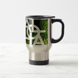 Aloha White Graphic Hawaii Palm Travel Mug