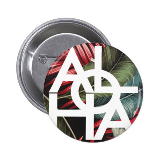 Aloha White Square Red Palm 2 Inch Round Button