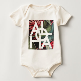 Aloha White Square Red Palm Baby Bodysuit