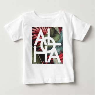 Aloha White Square Red Palm Baby T-Shirt