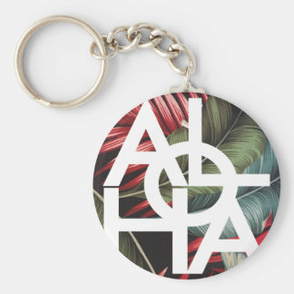Aloha White Square Red Palm Basic Round Button Keychain