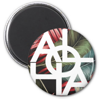 Aloha White Square Red Palm Magnet