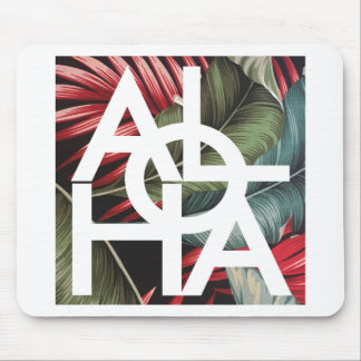 Aloha White Square Red Palm Mouse Pad