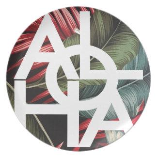Aloha White Square Red Palm Plate