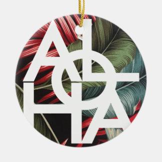 Aloha White Square Red Palm Round Ceramic Ornament