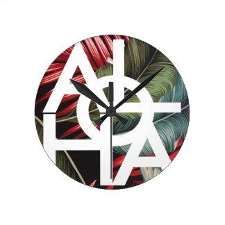 Aloha White Square Red Palm Round Clock