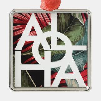 Aloha White Square Red Palm Silver-Colored Square Ornament