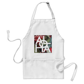 Aloha White Square Red Palm Standard Apron