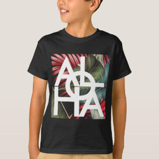 Aloha White Square Red Palm T-Shirt