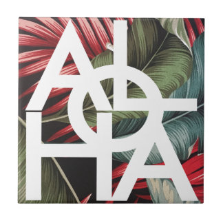 Aloha White Square Red Palm Tile
