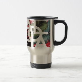 Aloha White Square Red Palm Travel Mug