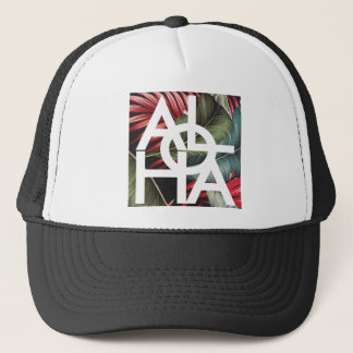 Aloha White Square Red Palm Trucker Hat