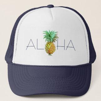 Aloha With PineApple Vintage Illustration Trucker Hat