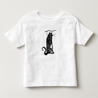 alone black cat says meow handdrawn cartoon toddler t-shirt