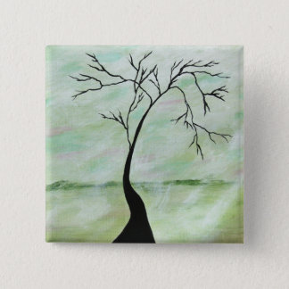 Alone I Waited Abstract Landscape Art Crooked Tree 2 Inch Square Button