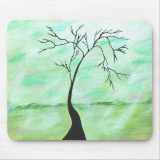 Alone I Waited Abstract Landscape Art Crooked Tree Mouse Pad