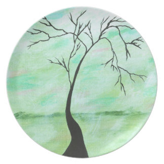 Alone I Waited Abstract Landscape Art Crooked Tree Plate