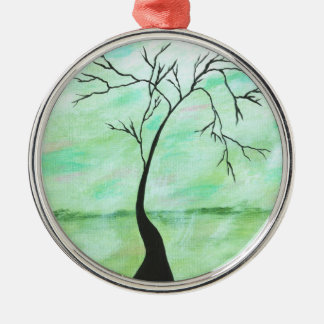 Alone I Waited Abstract Landscape Art Crooked Tree Silver-Colored Round Ornament