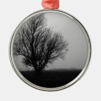Alone in winter Silver-Colored round ornament