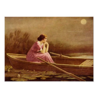 ALONE/Lady on a boat/Vintage Art Poster