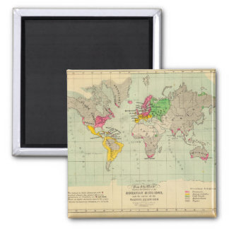 Along in years World Map 14 Square Magnet