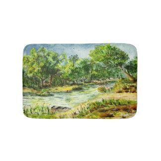 Along the Ocklawaha River Old Florida Watercolor Bath Mat