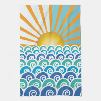 Along the Waves Blue Kitchen Towel
