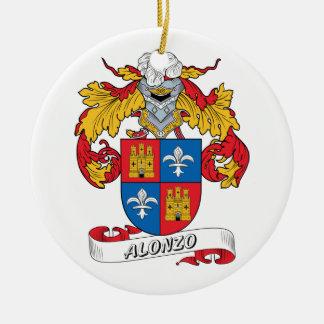 Alonso Family Crest Round Ceramic Ornament