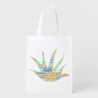 Alove Vera illustrated with cities of Florida USA Reusable Grocery Bag