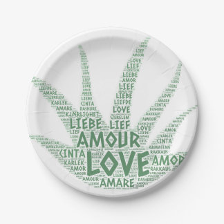 Alove Vera Plant illustrated with Love Word Paper Plate