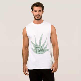 Alove Vera Plant illustrated with Love Word Sleeveless Shirt