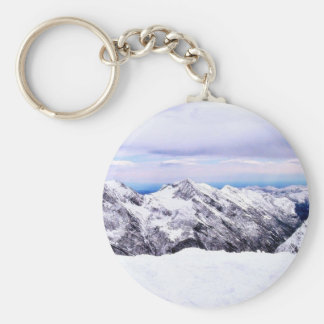 Alp Mountains Covered With Snow Basic Round Button Keychain