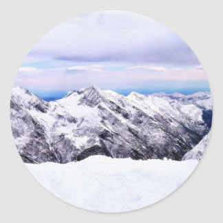 Alp Mountains Covered With Snow Classic Round Sticker