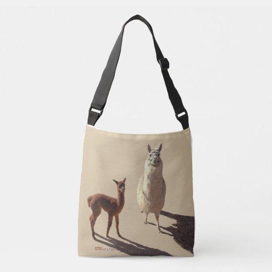 Alpaca baby and mother photograph.tan. crossbody bag
