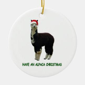 Alpaca Christmas Ceramic Ornament