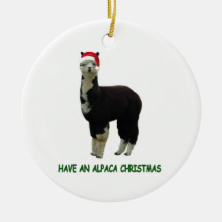 Alpaca Christmas Round Ceramic Ornament