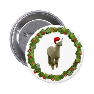 Alpaca Christmas Wreath Buttons
