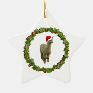 Alpaca Christmas Wreath Ceramic Ornament