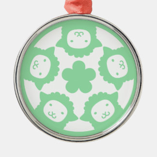 Alpaca Clan Silver-Colored Round Ornament