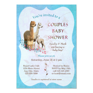 Alpaca Family Couples Baby Shower Invitation Boy