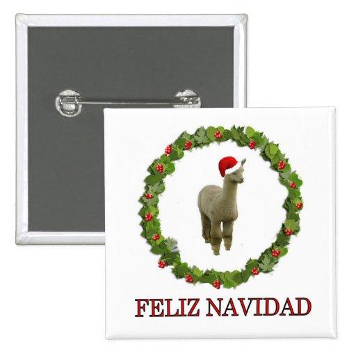 Alpaca Feliz Navidad Pinback Buttons